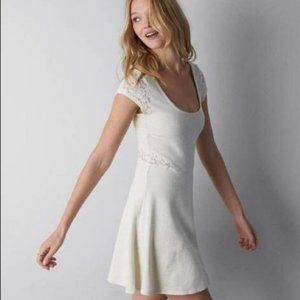 AEO | Cream Knit Dress with Lace Detail